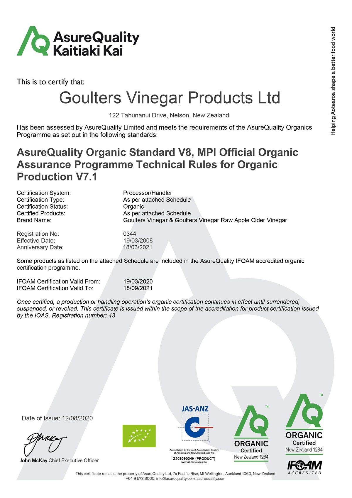 Goulter's Organic certification from AsureQuality