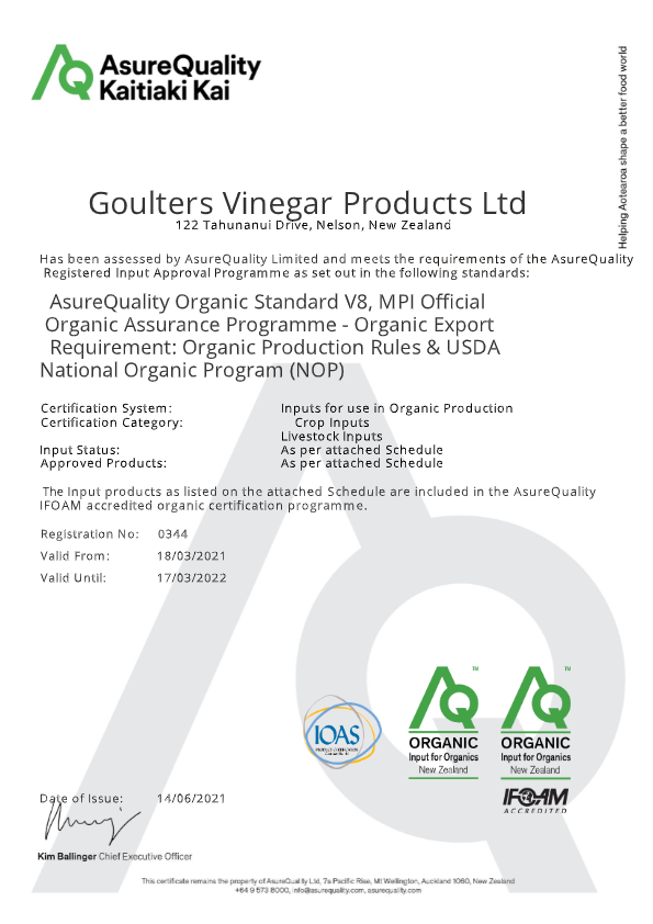 AsureQuality Organic Certificate WeedX by Goulter's Vinegar 2021-2022